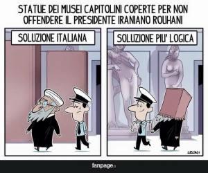 Una vignetta sulle soluzioni assurde decise dall'Italia nei confronti di altre culture