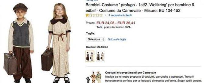 """""""Ecco i costumi da piccolo profugo"""": Carnevale choc su Amazon"""