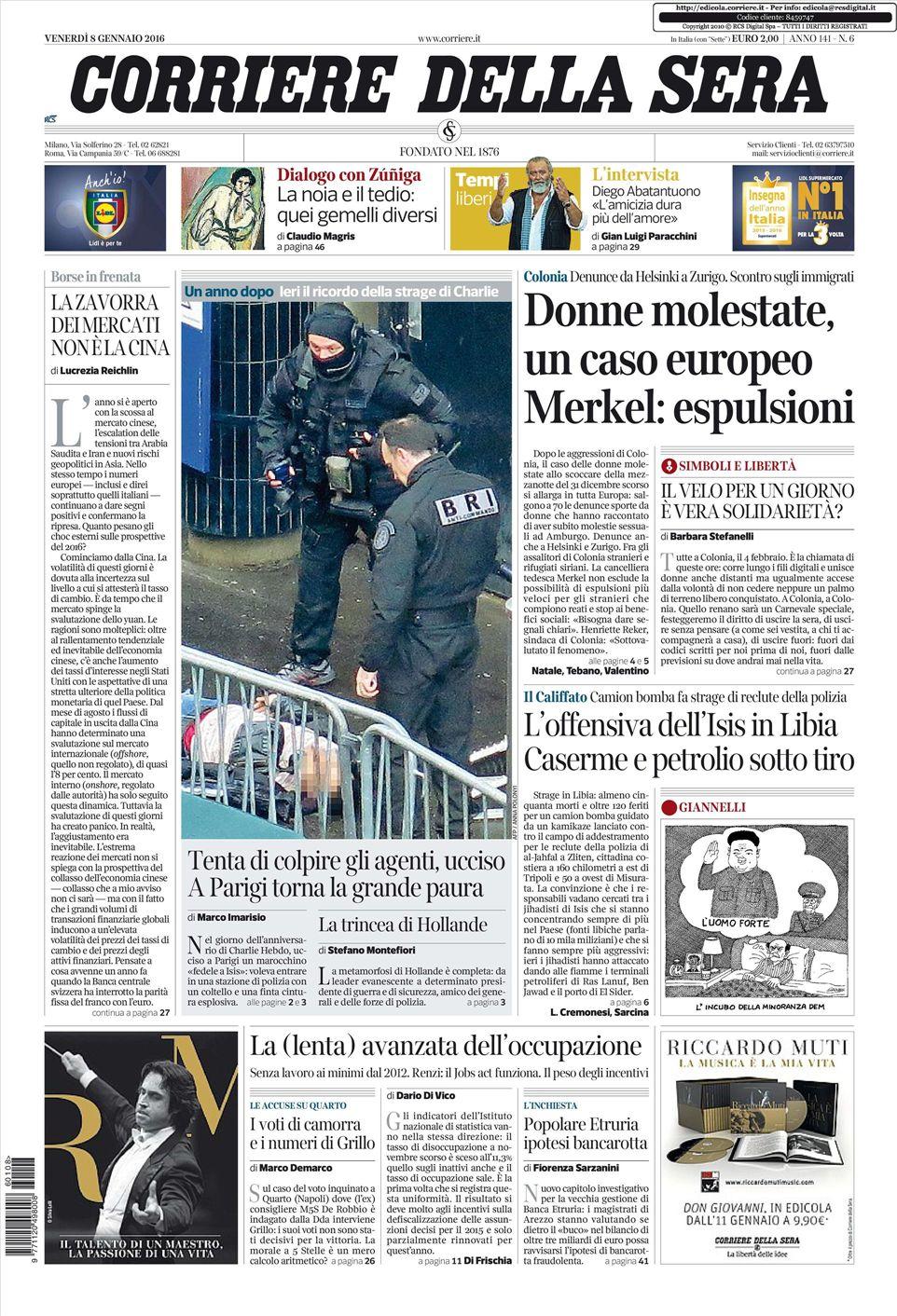 Le prime pagine dei quotidiani che sono in edicola oggi 4 for Corriere della sera arredamento