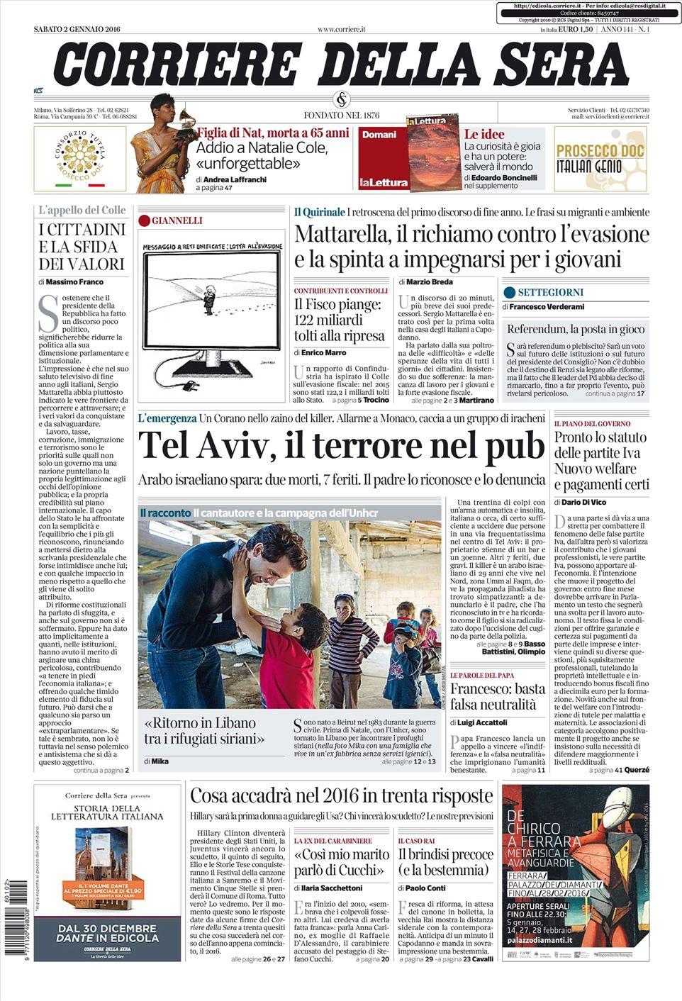Le prime pagine dei quotidiani che sono in edicola oggi 2 for Corriere della sera arredamento