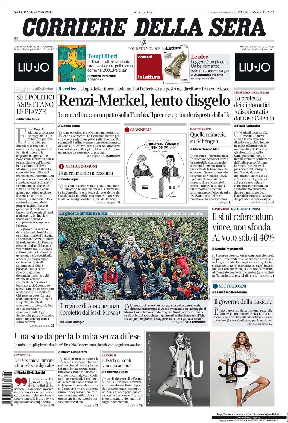 Le prime pagine dei quotidiani che sono in edicola oggi 30 for Corriere della sera arredamento