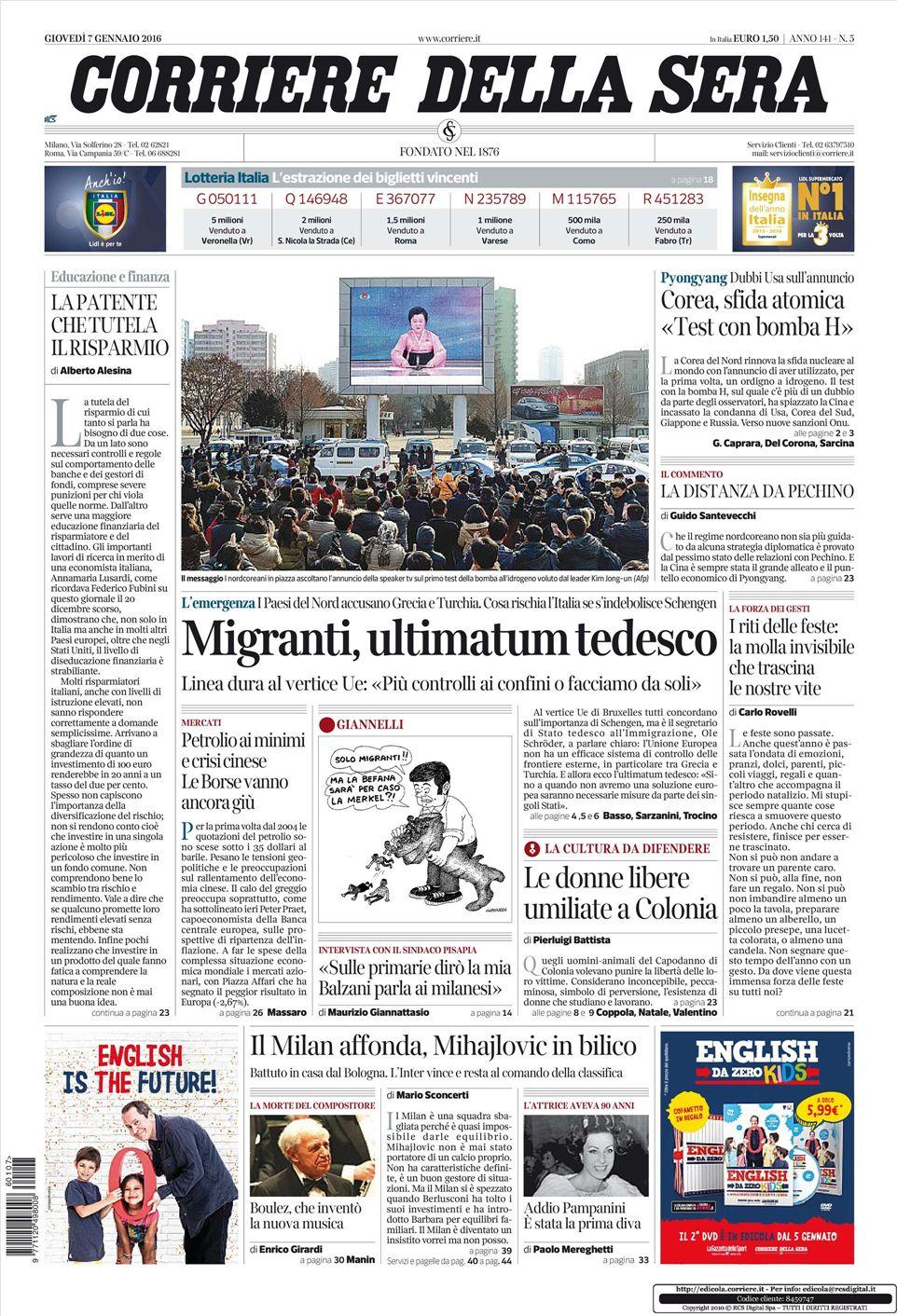 Le prime pagine dei quotidiani che sono in edicola oggi 7 for Corriere della sera arredamento