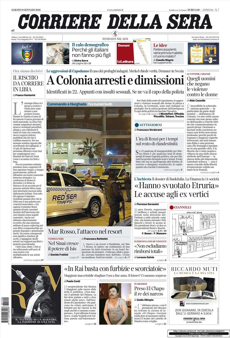 Le prime pagine dei quotidiani che sono in edicola oggi 9 for Corriere della sera arredamento