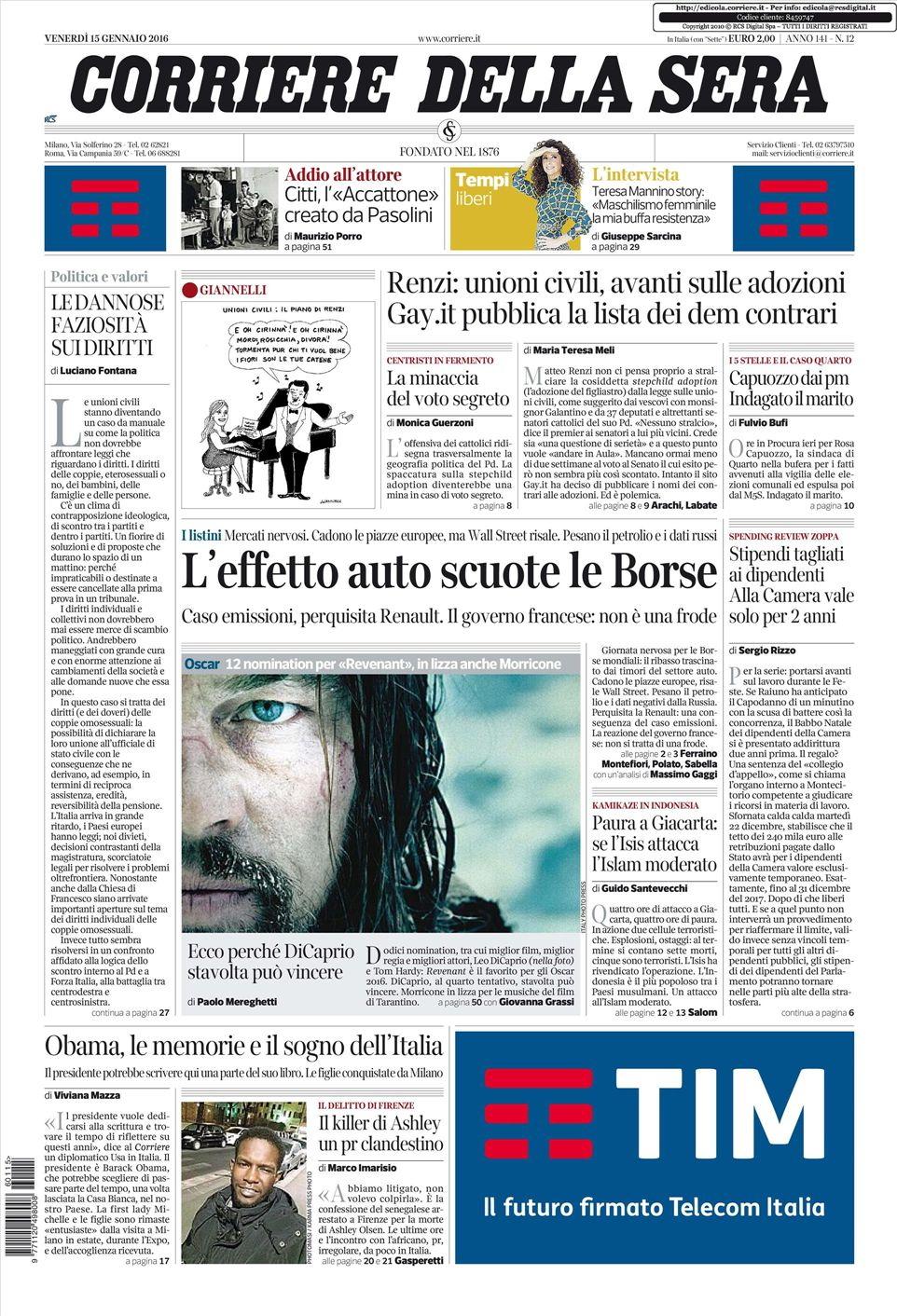Le prime pagine dei quotidiani che sono in edicola oggi 15 for Corriere della sera arredamento