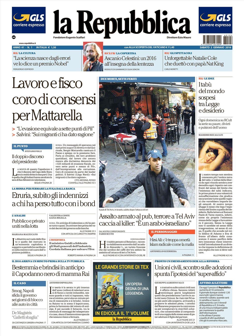 La Repubblica It Nel 2019: Le Prime Pagine Dei Quotidiani Che Sono In Edicola Oggi 2
