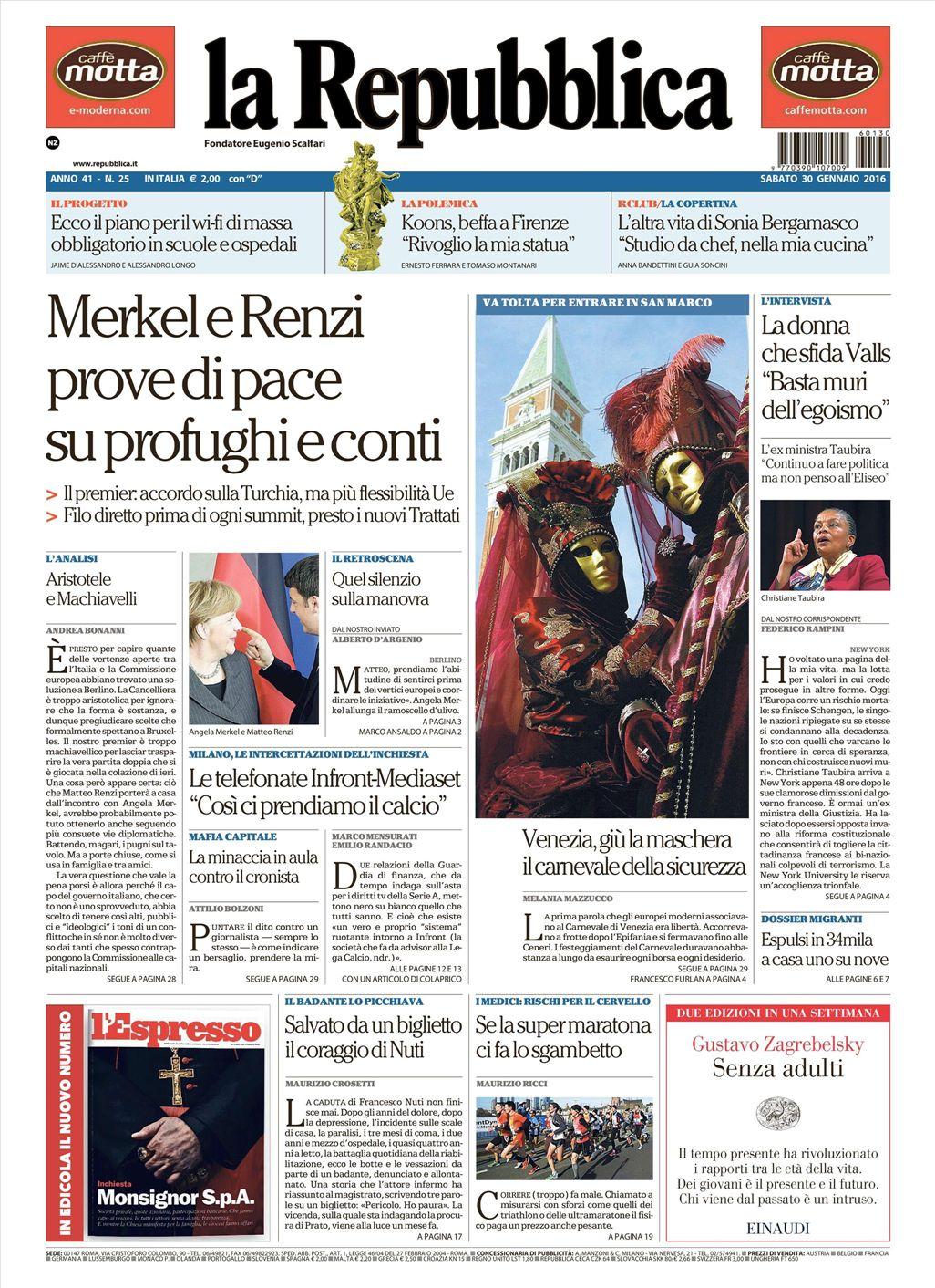 La Repubblica It Nel 2019: Le Prime Pagine Dei Quotidiani Che Sono In Edicola Oggi 30