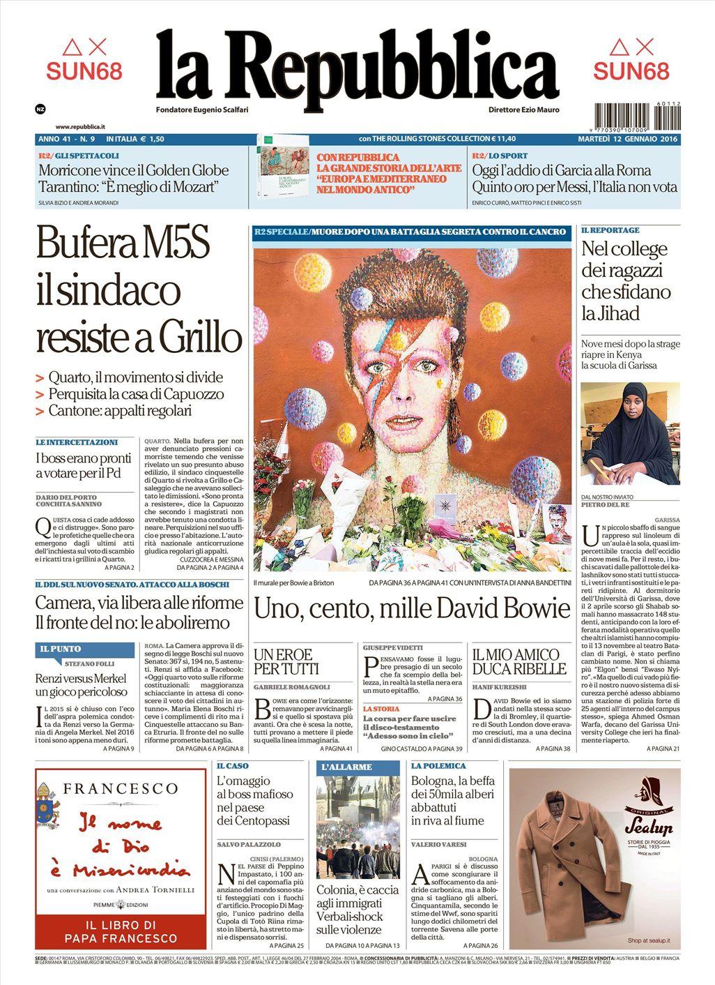La Repubblica It Nel 2019: Le Prime Pagine Dei Quotidiani Che Sono In Edicola Oggi 12