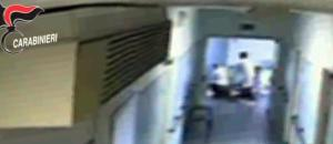 Un fermo immagine tratto da un video dei carabinieri mostra un momento delle violenze subite da alcuni disabili adulti ospitati in una struttura sarda dell'Aias, l'Associazione italiana assistenza spastici di Decimomannu: un'operazione dei militari dell'Arma ha portato alla sospensione di 14 operatori dell'Aias di Decimomannu, Cagliari