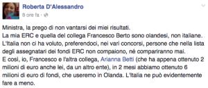 La ricercatrice contro la ministra Giannini: «Taci, l'Italia non ci ha voluto»