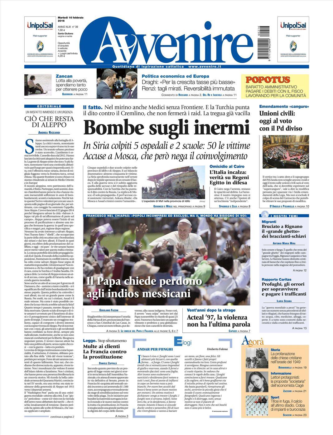 Le prime pagine dei quotidiani che sono in edicola oggi 16 for Resoconto tratto da articoli di giornali