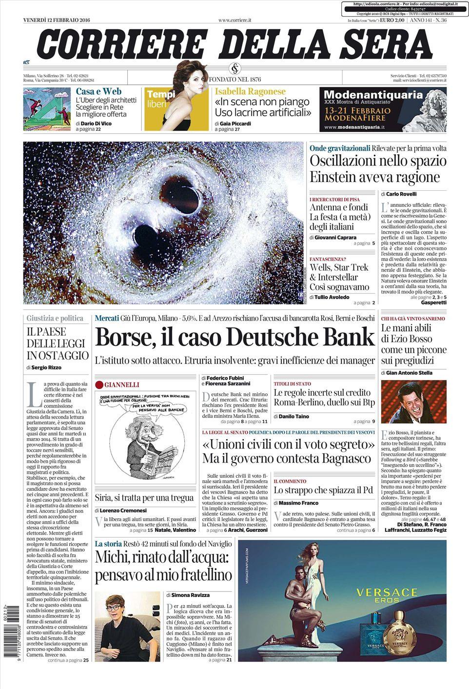 Le prime pagine dei quotidiani che sono in edicola oggi 12 for Corriere della sera arredamento
