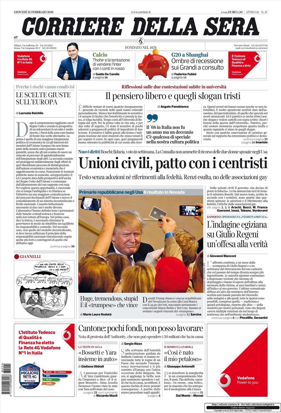 Le prime pagine dei quotidiani che sono in edicola oggi 25 for Corriere della sera arredamento
