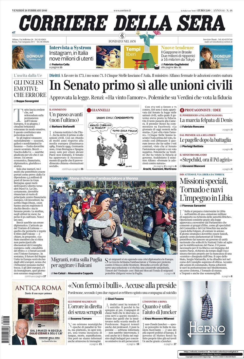 Le prime pagine dei quotidiani che sono in edicola oggi 26 for Corriere della sera arredamento