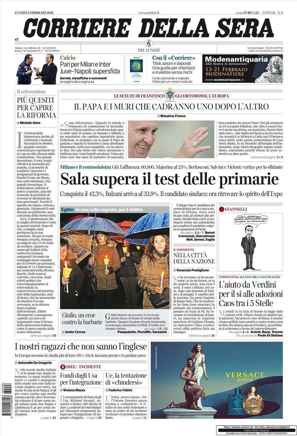 Le prime pagine dei quotidiani che sono in edicola oggi 8 for Corriere della sera arredamento