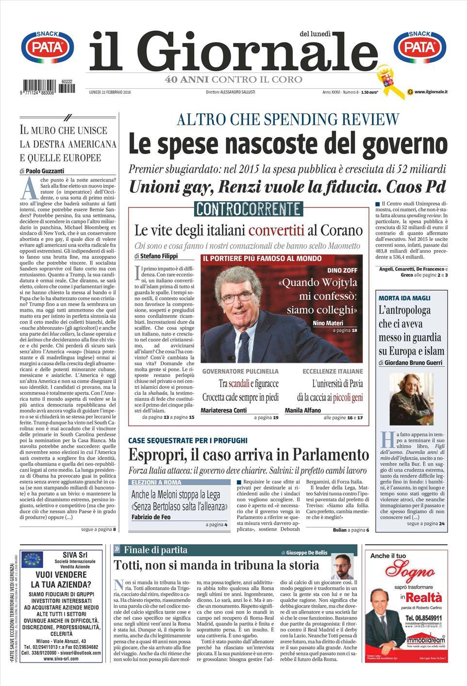 Le prime pagine dei quotidiani che sono in edicola oggi 22 for Ad giornale di arredamento