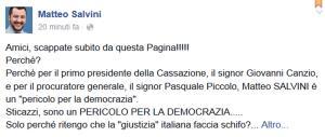 I magistrati: «Salvini è pericoloso». E lui risponde così su Facebook…