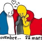 Qusta vignetta è di Le Monde, francese: qui la Francia abbraccia e solidarizza col Belgio. (Foto Twitter)