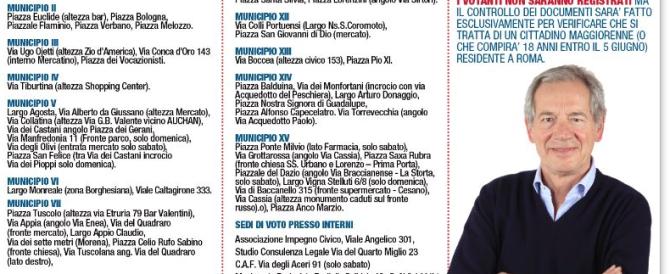 """""""Gazebarie"""" di Roma: quando, come e dove votare per Guido Bertolaso"""
