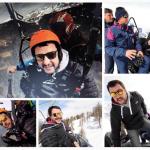 Matteo Salvini sul parapendio. Il collage di foto l'ha pubblicato lui stesso, non appena rientrato a Milano. (Foto Instagram)
