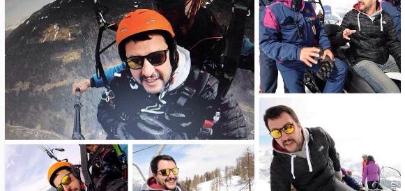In deltaplano, con la canna e i ministri-asini: il folle weekend di Salvini (foto)
