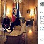 Ecco i Reali nella casa-ufficio del premier a Palazzo Chigi.  (Foto Instagram)