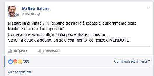 """""""Sui migranti Mattarella è complice e venduto"""". Bufera sulle parole di Salvini"""