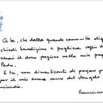 Un documento scritto a mano da Papa Francesco rivolto ai suoi follower su Twitter e su Instagram (Foto Instagram)