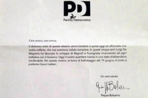 Lettera Pd per Lettieri