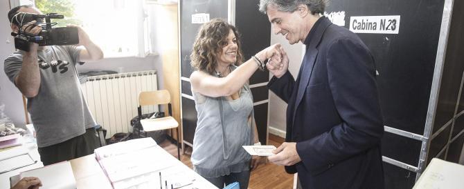 Il baciamano di Alfio Marchini alle donne del seggio