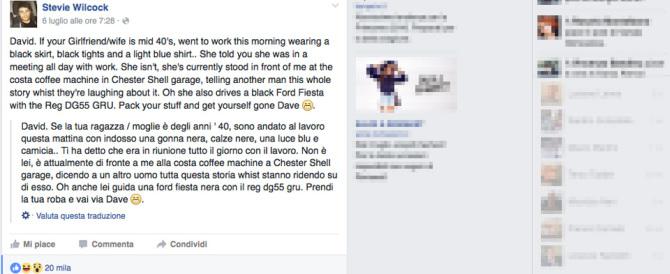 Ascolta per caso la conversazione di due amanti e fa la spia su Facebook