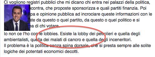 """Di Maio, tremenda gaffe su Facebook: """"C'è una lobby dei malati di cancro"""""""