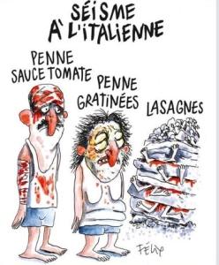 La satira di Charlie Hebdo colpisce un modo vergognoso le vittime del terremoto.