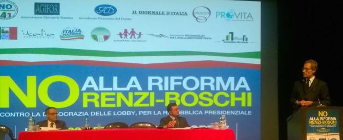 """Parte da destra la campagna del """"no"""": «Fermiamo insieme la riforma Renzi-Boschi»"""