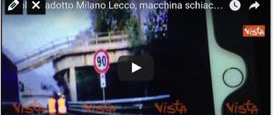 Ecco il video del momento del crollo del viadotto con l'auto schiacciata