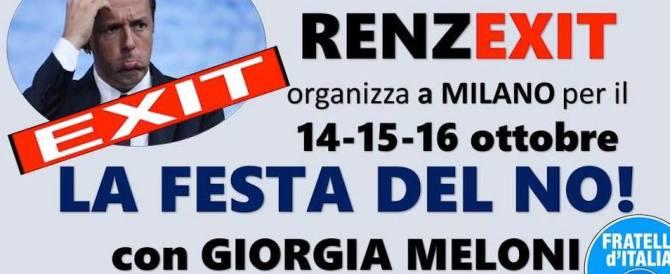 """""""Festa del No"""" a Milano, Fratelli d'Italia chiama a raccolta tutto il centrodestra"""
