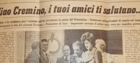 Ricordo di Mario Zicchieri, ucciso dai killer antifascisti a soli 16 anni