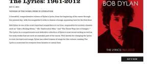 Giallo Nobel: sul sito di Bob Dylan cancellata l'assegnazione del premio