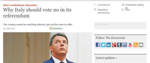Lo dice persino l'Economist: «L'Italia voti No». Brutta aria per Renzi