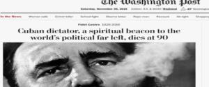 Il Washington Post dà la notizia della morte di Fidel Castro
