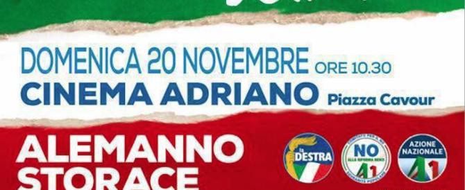 Domani all'Adriano Storace e Alemanno insieme per dire No al referendum