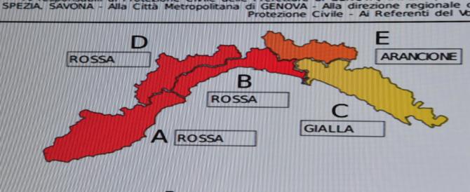 Maltempo, allarme rosso in Liguria: venti forti e possibile tempeste di pioggia