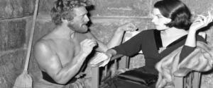 """Kirk Douglas e Silvana Mangano durante le riprese del film """"Ulisse"""" prodotto da Ponti e De Laurentiis"""