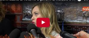 Meloni: «Al voto presto, la Consulta acceleri. No a governi di inciucio» (video)