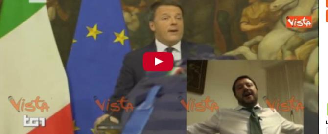 Il ciaone di Salvini a Renzi in diretta Fb durante il discorso d'addio del premier (VIDEO)