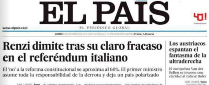 I giornali spagnoli: «Renzi punito per la sua arroganza e la sua ambizione»