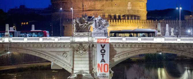 Azione Nazionale e La Destra: sui ponti di Roma striscioni per il No