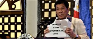 Filippine, Duterte evoca la legge marziale per sconfiggere i narcos