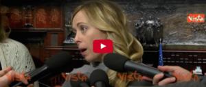 Giorgia Meloni: «Dopo il voto niente inciuci o alleanze col Pd» (video)