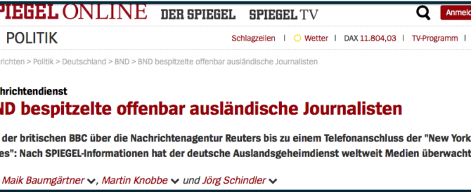 """""""Der Spiegel"""": i servizi tedeschi spiarono per anni giornalisti stranieri"""