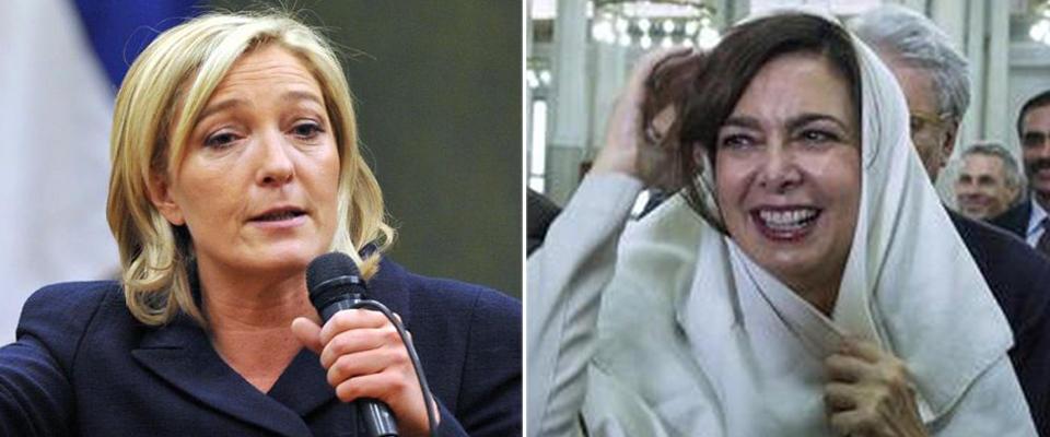 Marine Le Pen rifiuta il velo. Boldrini, Serracchiani e Bonino lo esibirono